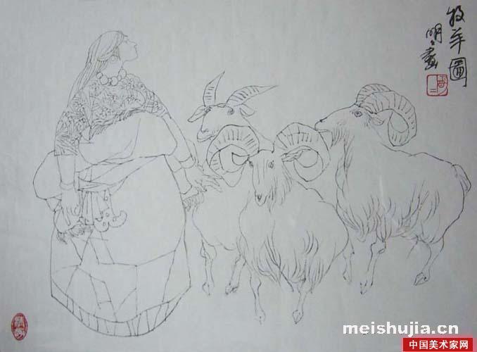 国画水墨画羊-王明明中国画作品 三羊开泰