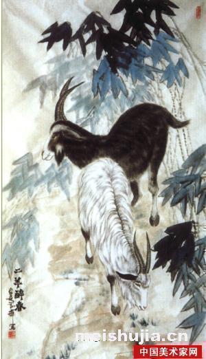 国画水墨画羊-谢辉中国画作品 二羊醉春
